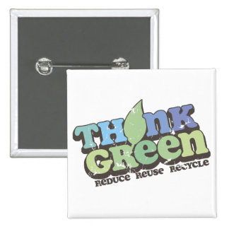 Think Green Earth Day Square Button