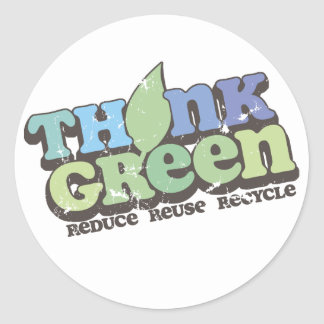 Think Green Earth Day Round Stickers