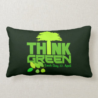 THINK GREEN (Earth Day) throw pillow