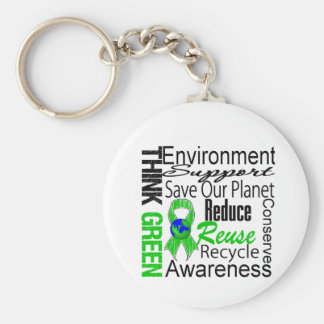 Think Green Environment Collage Basic Round Button Key Ring