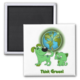 Think Green Leaf and Blade Fridge Magnet