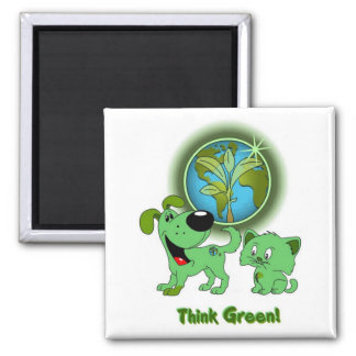 Think Green! (Leaf and Blade) Square Magnet
