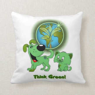 Think Green Leaf and Blade Throw Pillow