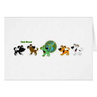 Think Green Leaf and Four Pups Greeting Card
