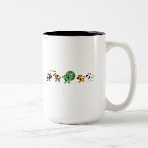 Think Green (Leaf and Four Pups) Mug