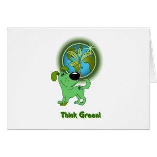 Think Green Leaf Greeting Card