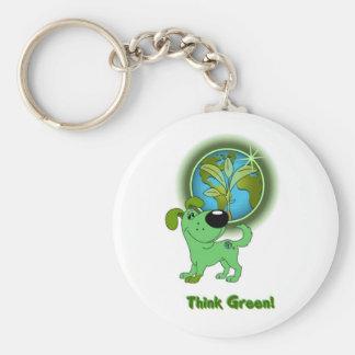 Think Green Leaf Key Chain