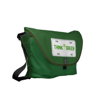 Think Green License Plate Messenger Bag