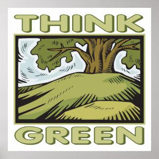 Think Green Oak Tree Poster