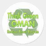 Think Green Oman Round Sticker