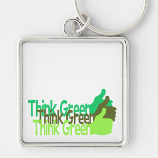 Think Green premium large key chain, customize Silver-Colored Square Key Ring