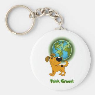Think Green Pumpkin Keychain