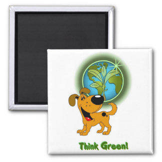 Think Green! - Pumpkin Square Magnet