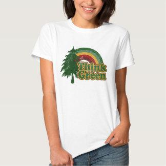Think Green, Retro Rainbow and Tree Shirt