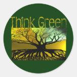 Think Green Round Sticker