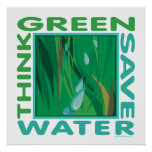 Think Green, Save Water Posters