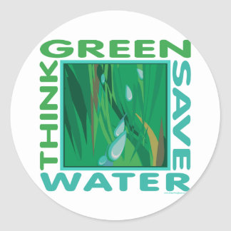 Think Green, Save Water Round Sticker