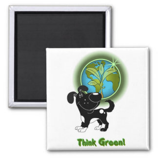 Think Green! (Shadow) Square Magnet