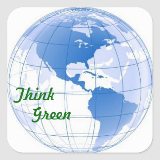 Think Green Square Sticker
