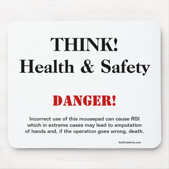 THINK Health and Safety Joke Warning Sign Mouse Mat