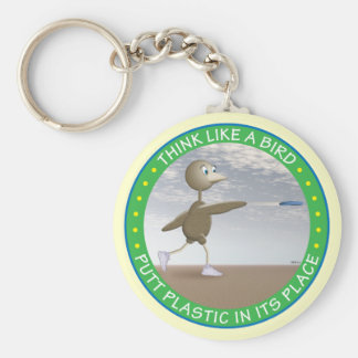 Think Like A Bird Basic Round Button Key Ring