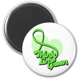 Think Lime Green Non-Hodgkin's Lymphoma 6 Cm Round Magnet