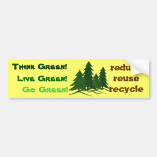 Think, Live, & Go Green - Bumper Sticker