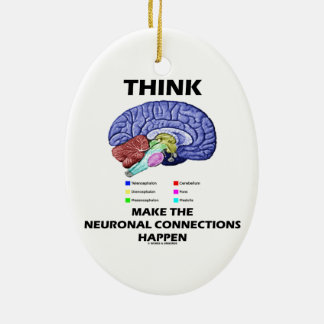 Think Make The Neuronal Connections Happen (Brain) Christmas Ornament
