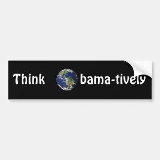 Think Obamatively_world, white on black Bumper Sticker