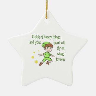 THINK OF HAPPY THINGS CERAMIC STAR DECORATION