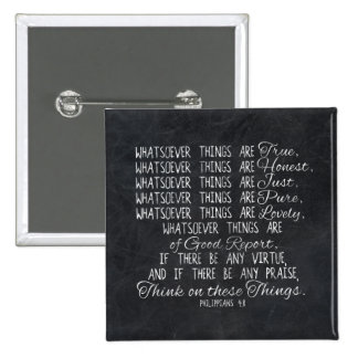 Think on These Things Christian Bible Scripture 15 Cm Square Badge