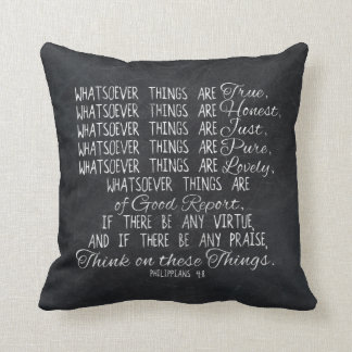 Think on These Things Christian Bible Scripture Cushion