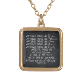 Think on These Things Christian Bible Scripture Square Pendant Necklace