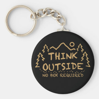 Think Outside, No Box Required Basic Round Button Key Ring