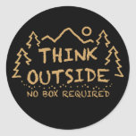 Think Outside, No Box Required Round Sticker