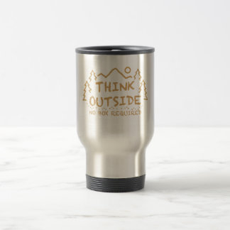 Think Outside, No Box Required Stainless Steel Travel Mug