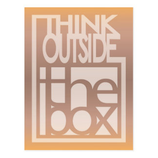Think outside the box quote design postcard