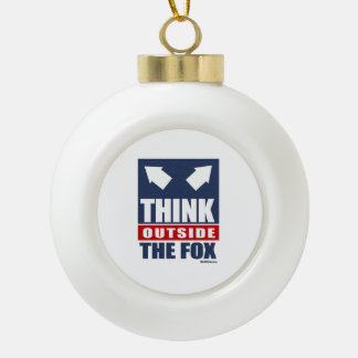 Think outside the fox ceramic ball decoration