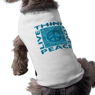 Think Peace Love Peace Live Peace Dog Tee Shirt