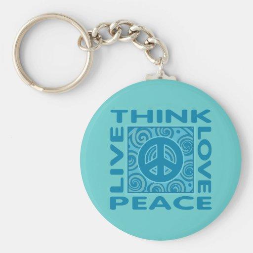 Think Peace. Love Peace. Live Peace. Key Chains