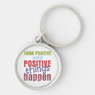 Think Positive Silver-Colored Round Key Ring