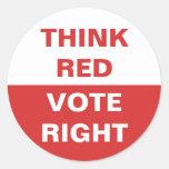 Think Red Vote Right Classic Round Sticker