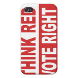 Think Red Vote Right Cover For iPhone 4