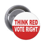 Think Red Vote Right Pinback Buttons