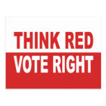 Think Red Vote Right Postcard