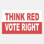 Think Red Vote Right Rectangular Sticker