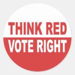 Think Red Vote Right Sticker