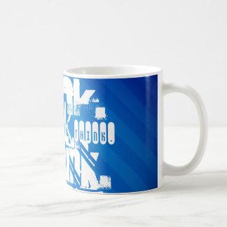 Think; Royal Blue Stripes Coffee Mug