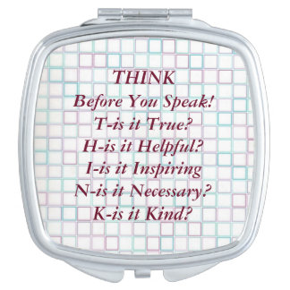 THINK Saying Blue Grid Squares Compact Mirror