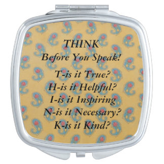 THINK Saying Blue Yellow Paisley Compact Mirror